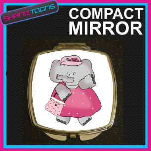 PINK ELEPHANT COMPACT LADIES METAL HANDBAG GIFT MIRROR
